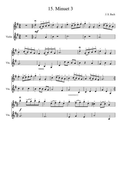 Minuet 1 Violin Suzuki 15 Minuet 3 J S Bach Sheet Musescore