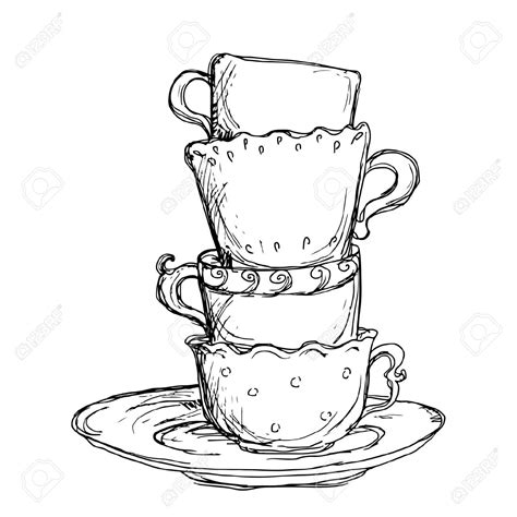 Teacup Outline Drawings by Tea Cup Clipart Outline Pencil And In Color Tea Cup Clipart Outline