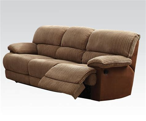 two tone reclining sofa malvern two tone brown fabric reclining sofa by acme 51140