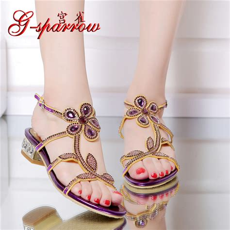 flat high heel sandals 2016 new casual purple high heel large size summer