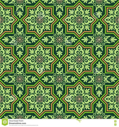 seamless pattern in islamic style arabesque on a green background stock vector image 73079521