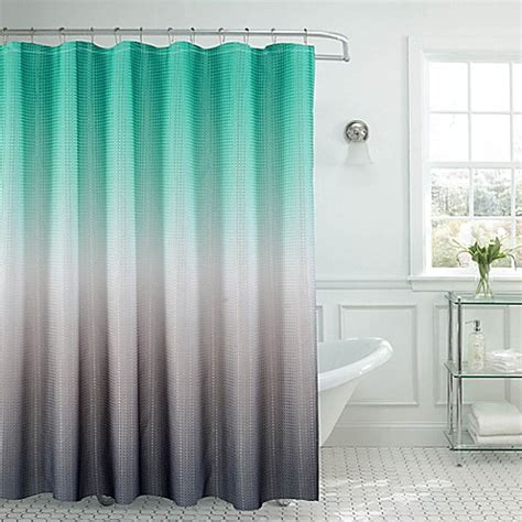 gray waffle shower curtain buy ombre waffle shower curtain in turquoise grey from bed