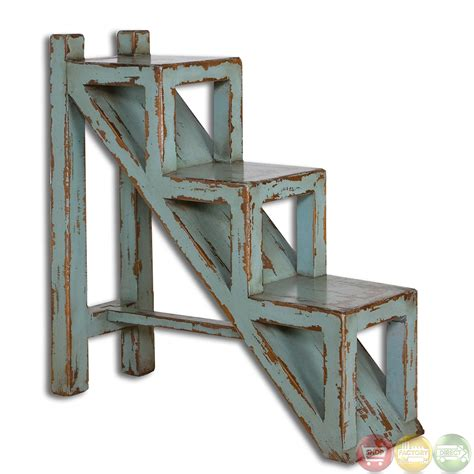 Rustic Accent Table Uttermost Asher Blue Country Rustic Accent Table 25584