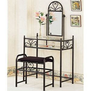 Glass Table Ls For Bedroom by Vanity Tables For Makeup Table Black Glass With Mirror