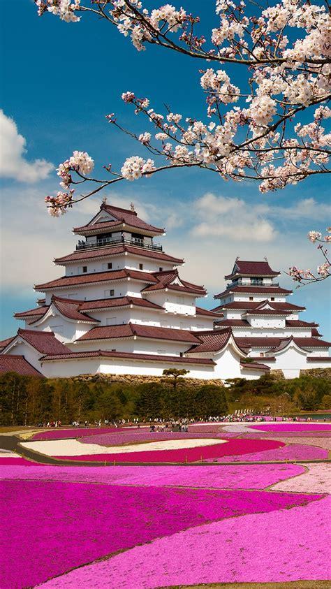 wallpaper iphone 5 japanese aizuwakamatsu castle fukushima japan mount fuji sakura