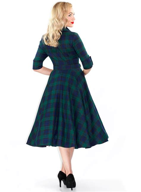 50s swing dress uk way out west black watch tartan 50s style swing dress