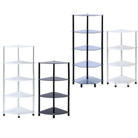 Corner Glass Shelf Unit by Glass Corner Shelf Shelving Display Unit Storage Furniture