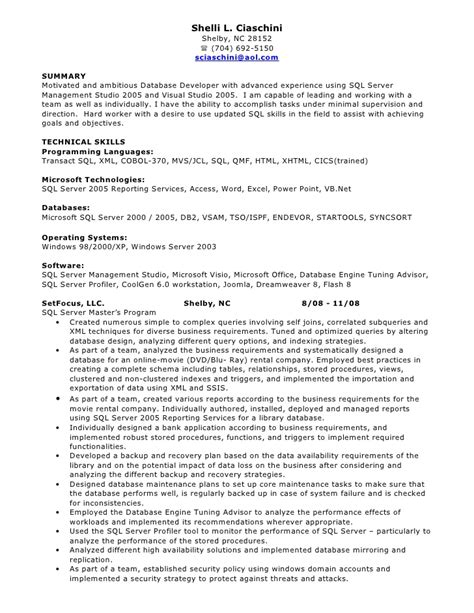 sql developer resume exles sql developer resume