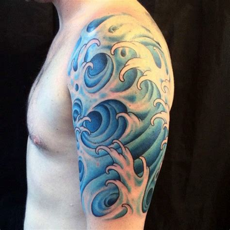 tattoo japanese water upper arm blue guys tattoos water japanese tattoo