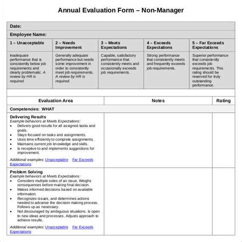 41 Sle Employee Evaluation Forms To Download Sle Templates Annual Employee Review Template