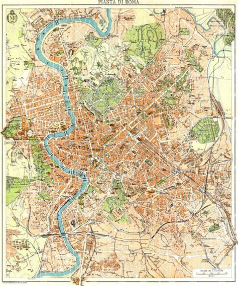 rome city map map of rome roma in 1933 buy vintage map replica