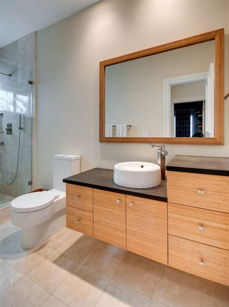 bamboo vanity contemporary bathroom miami  greenworks cabinetry