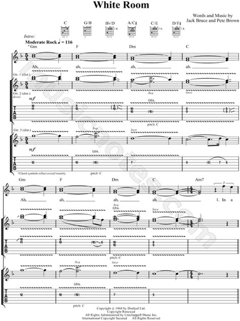 White Room Tab by Quot White Room Quot Guitar Tab In C Major