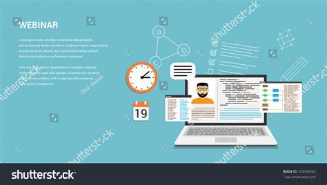 Flat Style Template Design Online Webinar Stock Vector 370039292 Shutterstock Webinar Design Template