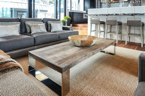 reclaimed wood living room tables great room with reclaimed wood and chrome coffee table