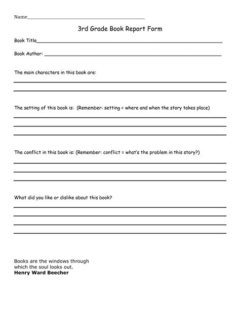 fourth grade book report format 3rd grade book report sle search education
