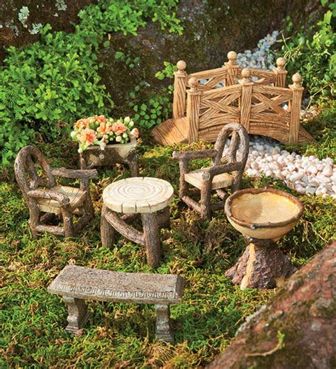 woodland fairy garden resin furniture set garden fairies
