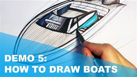 speed boat drawing demo 5 speed boat sketching arcs in perspective youtube