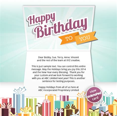 Birthday Cards Email Corporate Birthday Ecards Employees Clients Happy