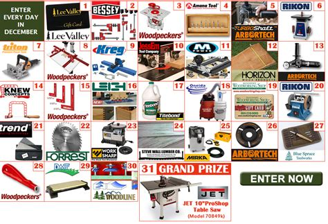 Woodworking Tool Sweepstakes - popular woodworking power tools giveaway 31 winners win a different tool each day