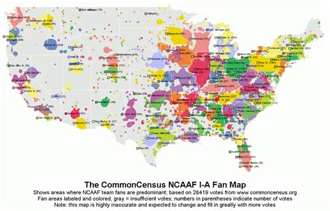 College Football Giveaways - commoncensus map of college football fandom maps pinterest college football and
