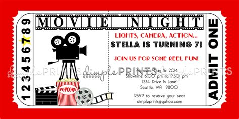 search results for printable movie ticket invitation
