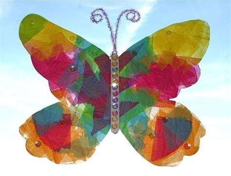 Tissue Paper Butterfly Craft - stained glass butterfly craft kit