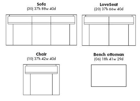 Ottoman Size standard sofa sizes search room for living