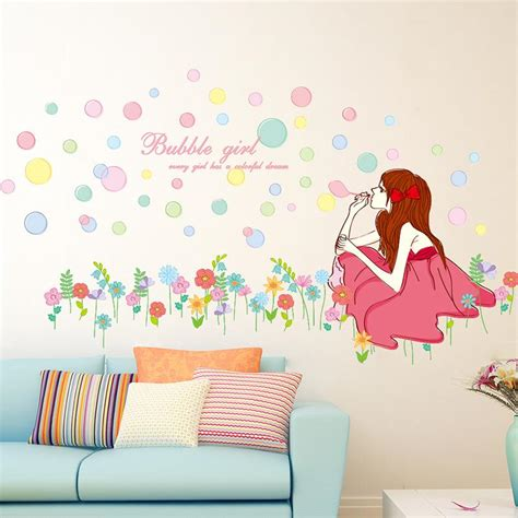 pretty wall murals on the grassland wall mural poster pretty blowing bubbles wall stickers