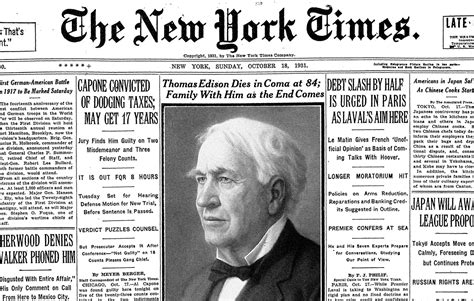 day edison famed inventor edison died on this day 85 years ago