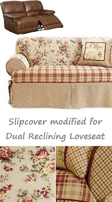 reclining loveseat slipcover dual reclining loveseat slipcover t cushion shabby toile