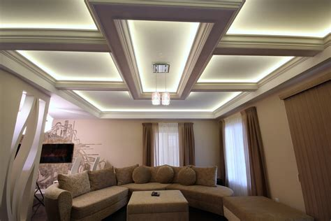 coffered ceiling lighting image ceiling feature lighting