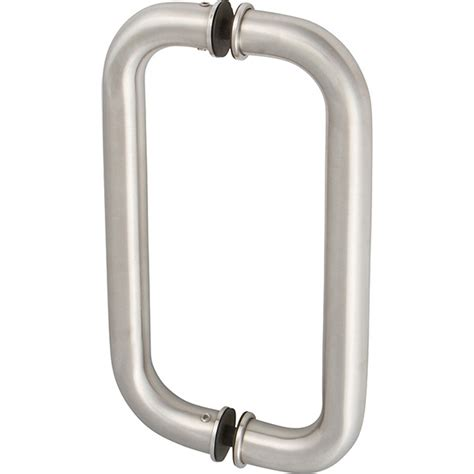 12 inch inline commercial glass door pull in brushed stainless steel