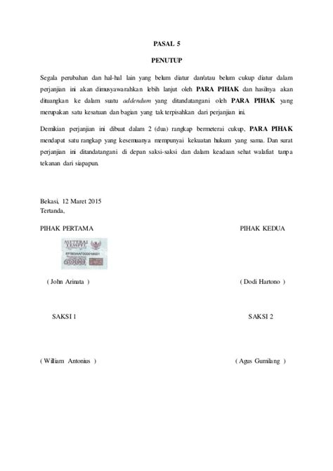 contoh surat perjanjian kontrak kerjasama proyek 28 images format