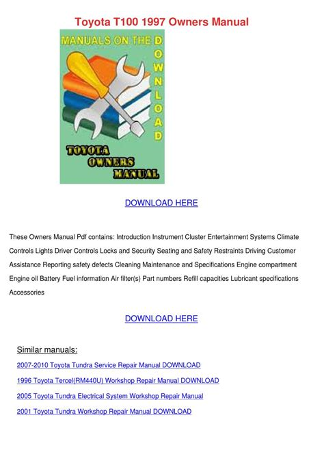 motor repair manual 2005 toyota 4runner security system toyota t100 1997 owners manual by nolaoconnor issuu