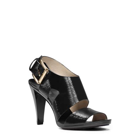michael kors patent leather sandals michael kors carla patent leather sandal in black lyst