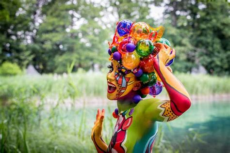national painting festival a model poses at the world bodypainting festival 2014 on