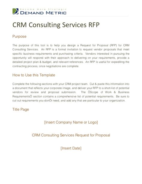 Crm Consulting Services Rfp Crm Rfp Template