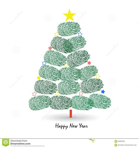 new year fingerprint tree happy new year pine tree with finger prints vector