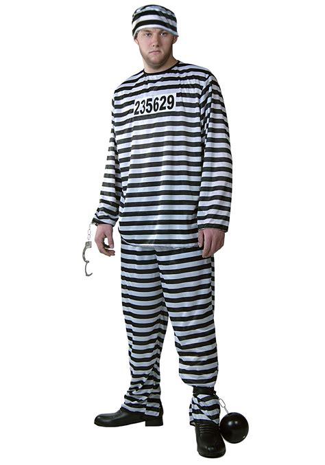 Male Halloween Costume Size Classic Jailbird Costume Prison Costumes