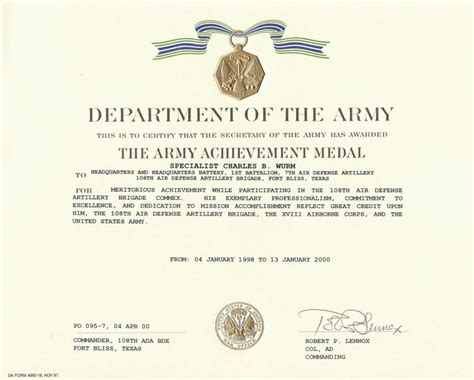 army certificate of template army certificate of achievement template masir