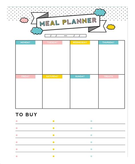food planner template editable meal planner vertola