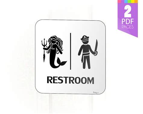 Mermaid and pirate restroom sign for birthday party decor