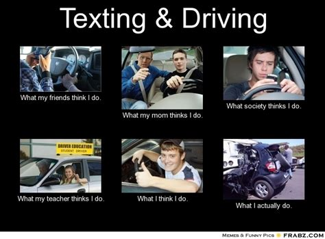 Text Driving Meme - funny texting and driving meme funny texting and driving