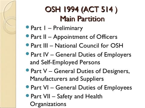 section 5 a 1 of the osh act occupational safety and health act 1994 act 514