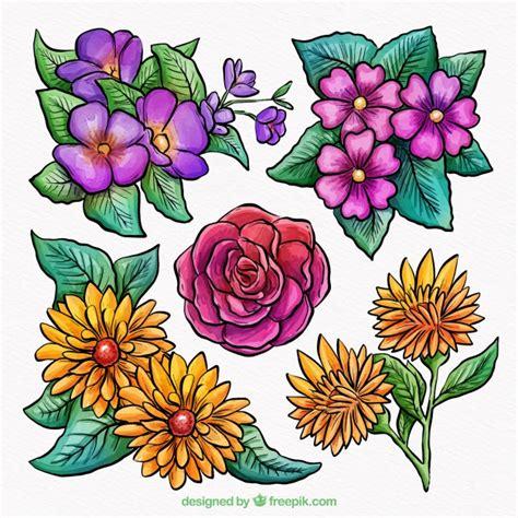fiori primaverili collezione di fiori primaverili ad acquerello scaricare