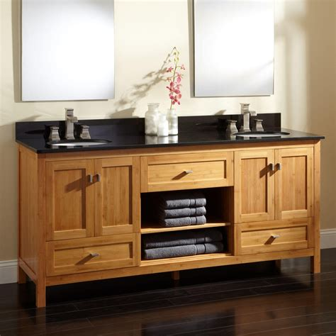 bathrooms cabinets vanities 72 quot alcott bamboo double vanity for undermount sinks