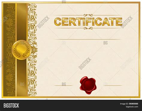 elegant template certificate vector photo bigstock