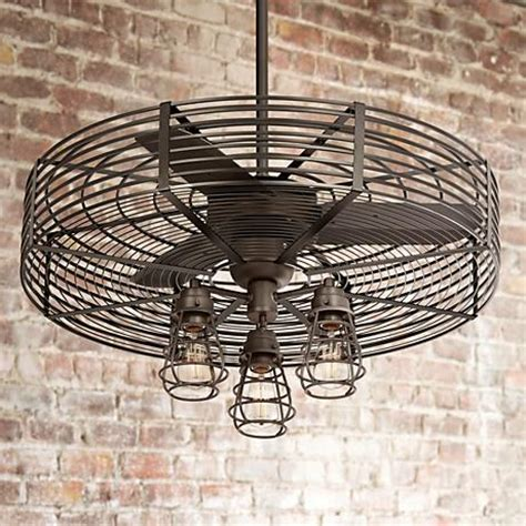 caged ceiling fan with light 32 quot vintage 3 light bendlin cage ceiling fan