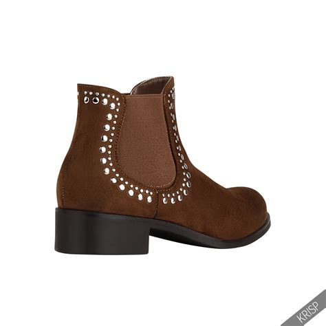 womens ankle boots low heel low heel studded chelsea pull on suede ankle boots